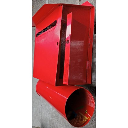 Metallogy Metal Red Post Letter Box With Mail Box And Newspaper Holder / Peti Surat Besi/ Mailbox/ Letterbox