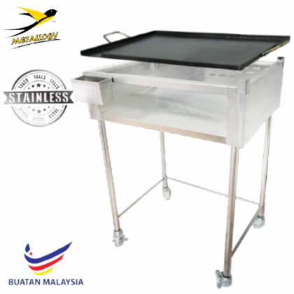 Metallogy Stainless Steel Gas Stove Stand With Rectangular Burger Plate - BS-1824(S)+Burger 008(1824) (1SET)